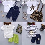 Kids Summer Boys 2017 new female baby infant clothes short suit 0-1-2-3-4-5 tide