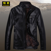 The spring and autumn short collar men's old men with cashmere leather collar middle-aged leather jacket dad.