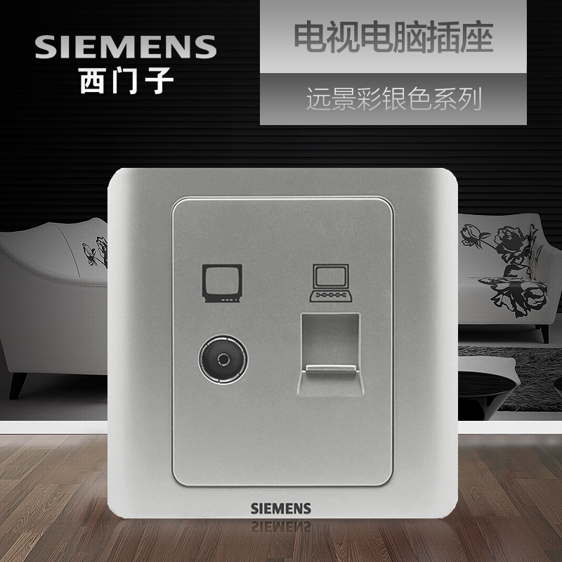 Siemens TV Computer Socket Panel Vision Color Silver 86 Network Cable TV Switch Socket