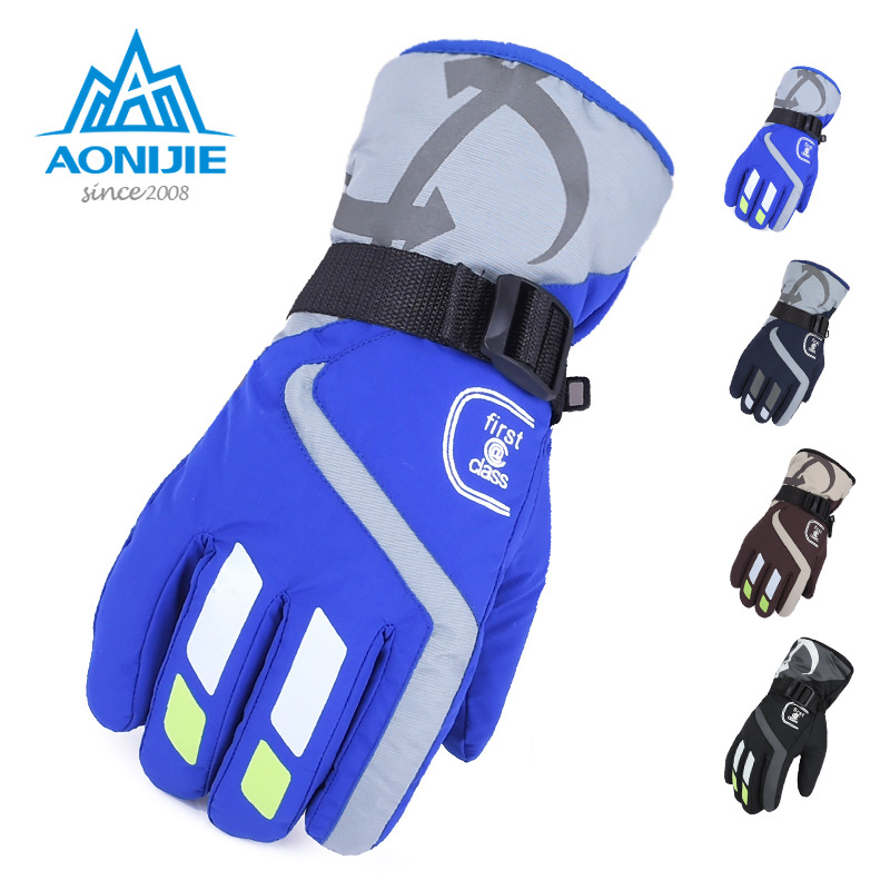 [The goods stop production and no stock]Aonijie Skiing Men Winter Riding Windproof Cold Outdoor gloves Thicken Warm Mountaineering Non-slip gloves