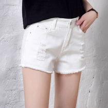 Shorts Women thin slim summer students take the raw edges holes in hot pants high waist wide leg loose white jeans