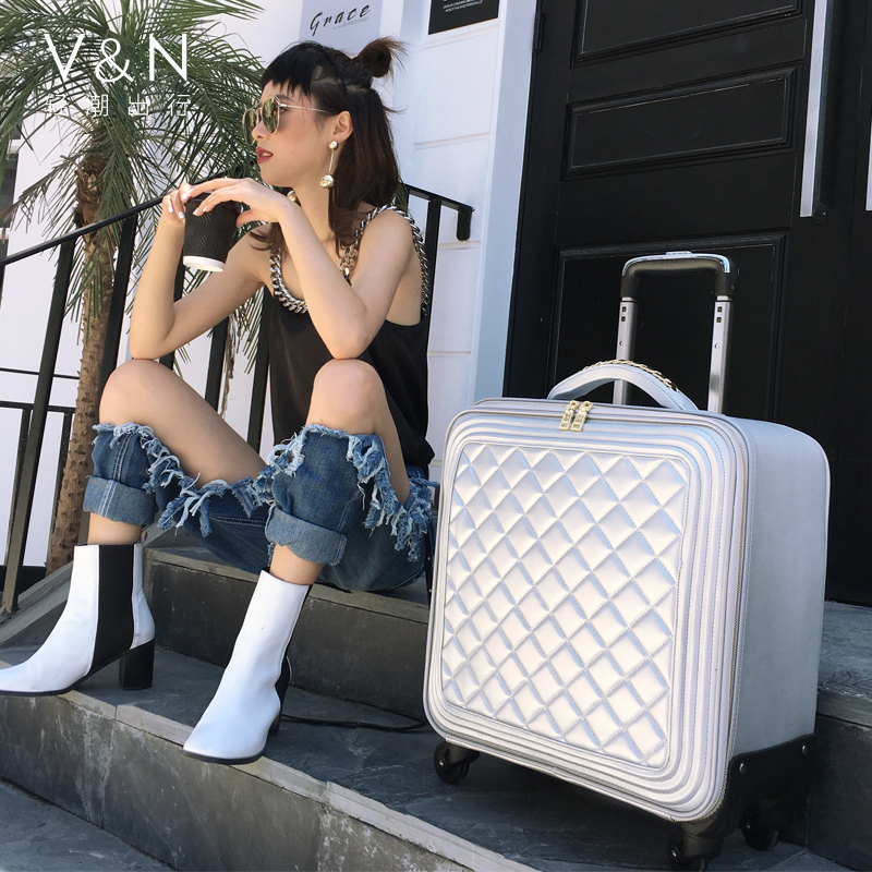 Fashion suitcase net red suitcase female small boarding suitcase female suitcase pull rod suitcase tide universal wheel 20 inches light