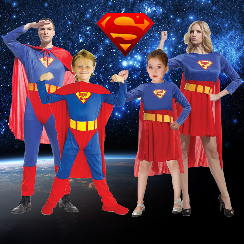 Children's Day Adult Show Clothes Superman Show Clothes Cosplay Cloak Suit Boys