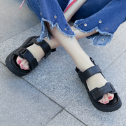 Female Korean summer sandals Velcro black muffin with 2017 new students all-match flat thick Sands