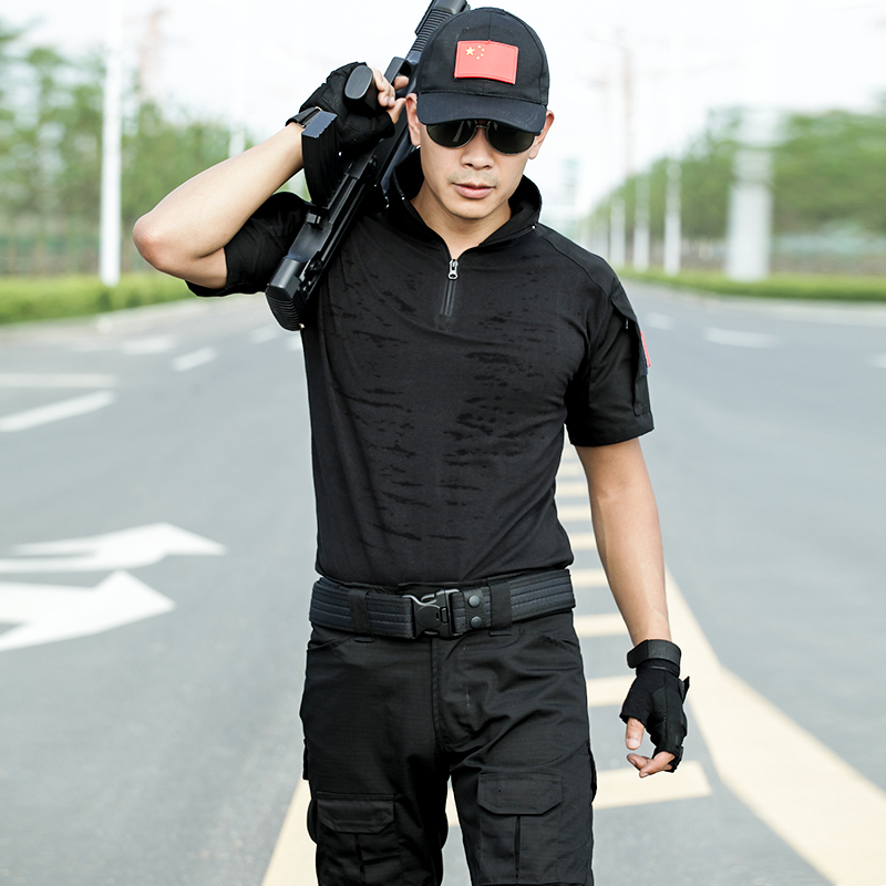 Shield Lang black short-sleeved frog suit set special forces training clothes summer outdoor military fans real CS training combat uniforms