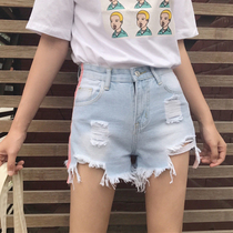 Summer Korean version of the new fashion stovepipe vertical tearing grinding to be light blue grinding white high waist denim shorts hot pants female