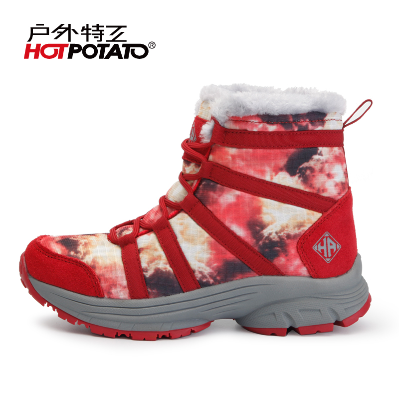 Outdoor agent winter snow boots high help hiking shoes women plus velvet warm non-slip walking shoes HP5008