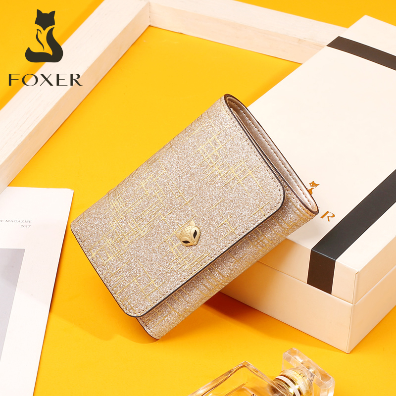 Golden Fox Short Wallet Women 2019 New Fashion Cowhide Zero Wallet Simple Multi-card Folding Lady Wallet