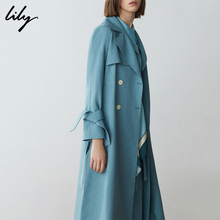 Star Lily2019 spring new dress, long style double breasted tie, windbreaker 119110C1255