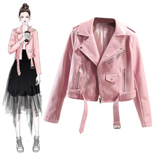 2018 new winter leather female han edition cultivate one's morality short locomotive pu leather jacket to add female black velvet pink coat