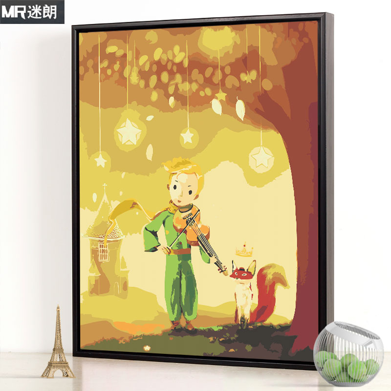 Malandiy Digital Oil Painting Cartoon Animation Little Prince Hand-filled Hand-painted Digital Filling Oil Painting Decoration