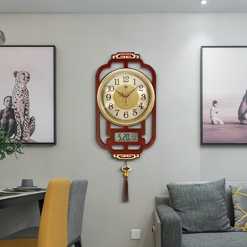 New Chinese wall clock living room home fashion Chinese wind 錶 simple 10000-year calendar silent clock solid wood quartz clock