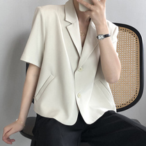 Japanese thin short-sleeved small blazer Womens design sense niche Western style casual suit small short top