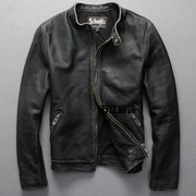 Thick leather leather men's short slim minimalist fashion collar jacket XL old locomotive