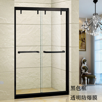 Custom shower room one-shaped tempered glass partition 304 stainless steel powder room mobile door guard door