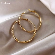 Large circle earrings women sterling silver hypoallergenic temperament high sense 2021 new fashion French net red autumn and winter earrings