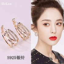 South Korea sterling silver 2021 new high fashion atmosphere allergy resistant ear buckle earrings