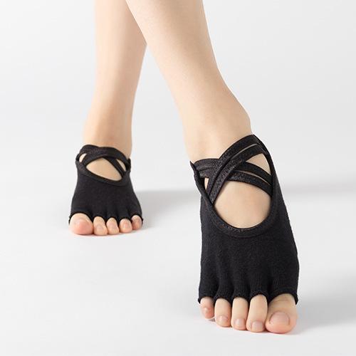 1-3 double-packed professional five-finger yoga socks open-toed hair ring-slip socks cross strap air dance socks 牀 socks