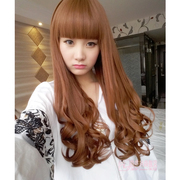 Female wig long curly hair wavy pear head buckle neat bangs Wig Natural long straight hair in South Korea