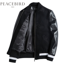 Pacific bird jacket, men's autumn embroidery stitching motorcycle leather, pilot baseball neck wool coat man