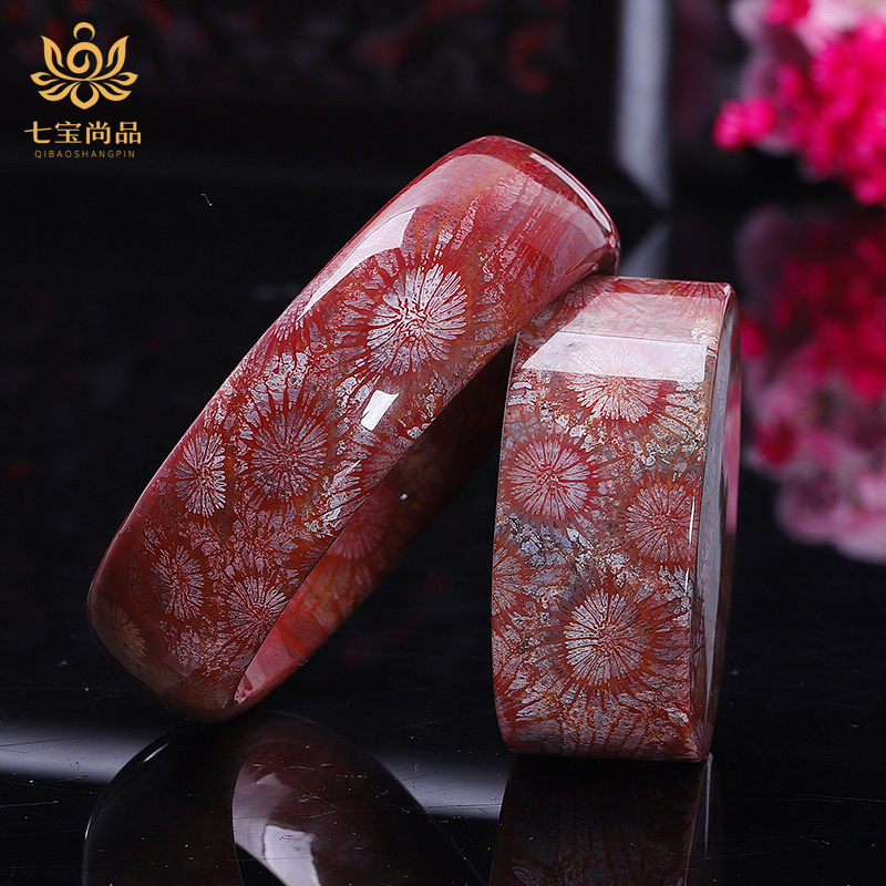Seven Treasures coral jade bracelet Natural ice species coral jade live bracelet wide version of ice permeable chrysanthemum stone