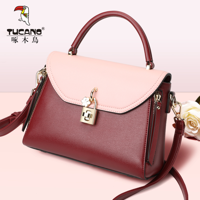 Woodpecker Bag Girl 2019 New Slant Bag Korean Version Fashion Spring and Summer Colour Collision Single Shoulder Hand-held Lady Bag