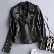 Haining women's leather jacket, leather jacket, short paragraph, slim, sheep, leather jacket, black and white