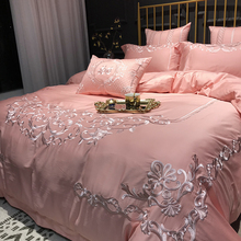 European Pink Four-piece Princess Wind 60 Tribute Satin Embroidered Cotton Wedding Room Twin Beds