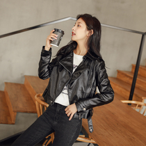Europe station 2021 spring and autumn new fashion all-match leather jacket women slim thin short biker suit jacket tide
