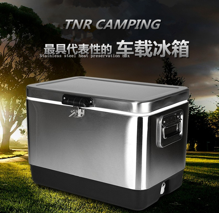 [The goods stop production and no stock]Tnr outdoor portable stainless steel insulation box car refrigerator large thickening refrigerator box barbecue fresh refrigeration box