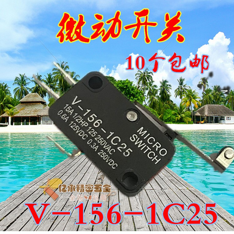 Travel Switch V-156-1C25 Micro Switch Motor Limiting Switch Self-reset Long Handle with Roller