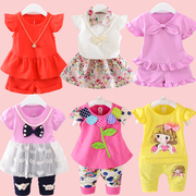 One year old baby girl summer suit 2 infants and children's clothing cotton summer 3 two piece Girl 4 short sleeved summer tide