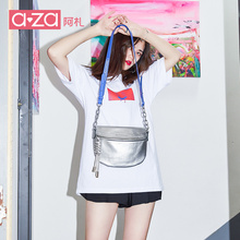 AZA Summer 2019 New Chao Baitao Ins saddle bag Chao Kuo jump Di bag chain lady bag single shoulder inclined bag