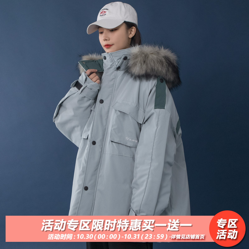Korean version of the workwear hood loose thick cotton coat womens winter clothes new students ulzzang casual cotton clothing tide