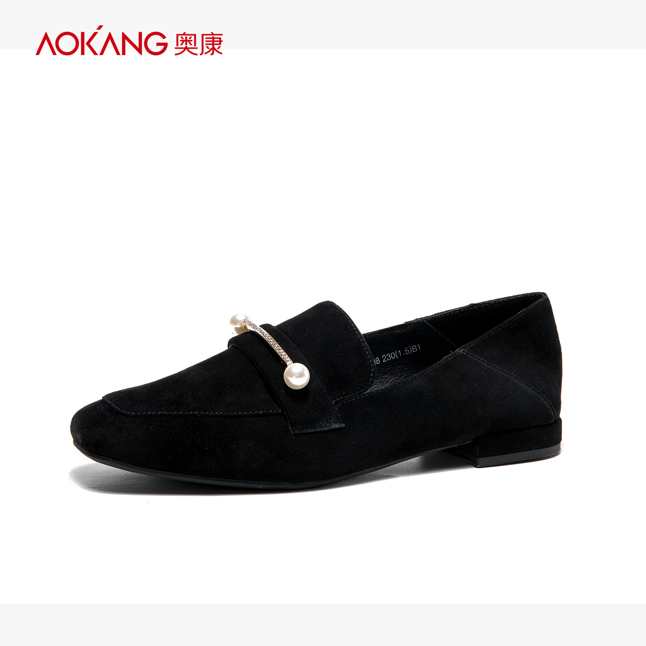 [The goods stop production and no stock]Aokang women's shoes square-headed leisure comfortable women's single shoes sheep's diamond ornament fashion women's shoes in autumn