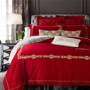 ZOSER new European American bed four pieces of Red Satin Wedding embroidery bedding bedding