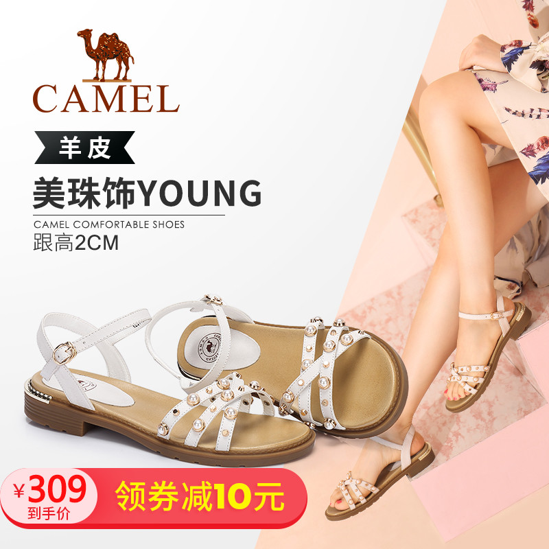 Camel Shoes Summer 2019 New Simple and Modern Comfortable Low-heel Open-toed Fashion Beaded Sandals
