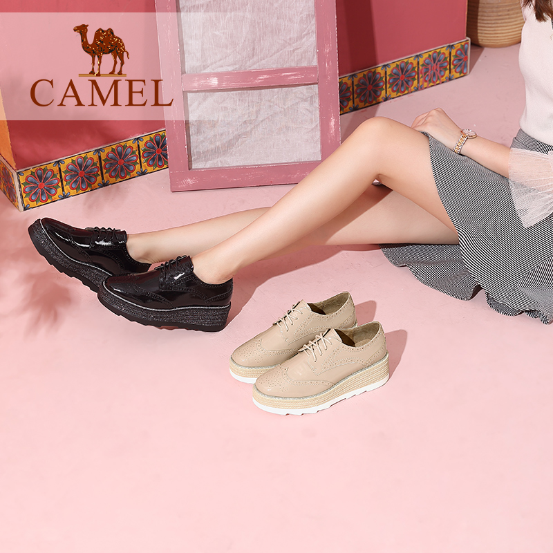 Camel Shoes Autumn Fashion British Texture Leisure Block Carved Muffin Bottom Medium-heeled Single Shoes