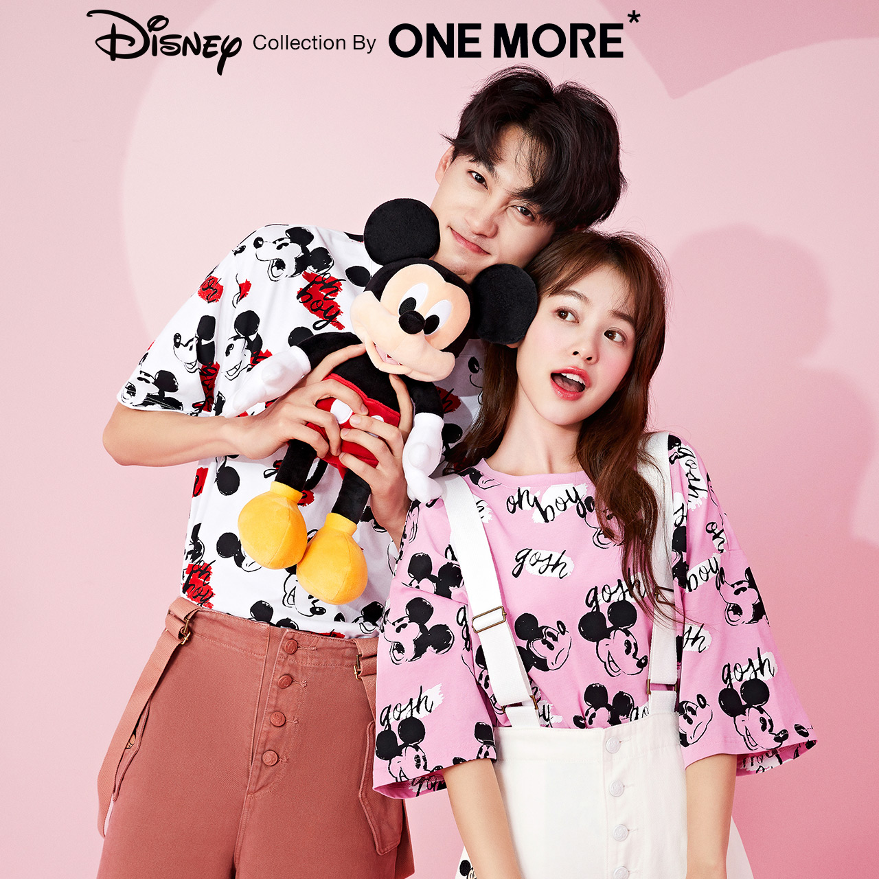Disney cooperation one more2020 spring new full-length printed T-shirt women couple bottoms