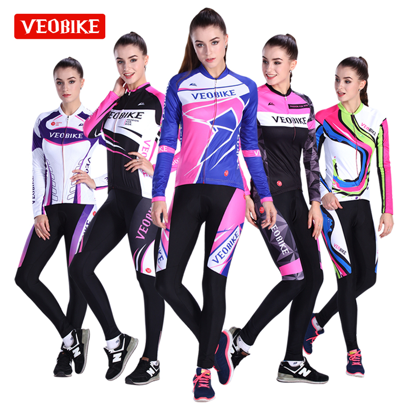 VEOBIKE Maxi Fleece Jersey Women's Long Sleeve Set Autumn Winter Bike Jersey Trousers