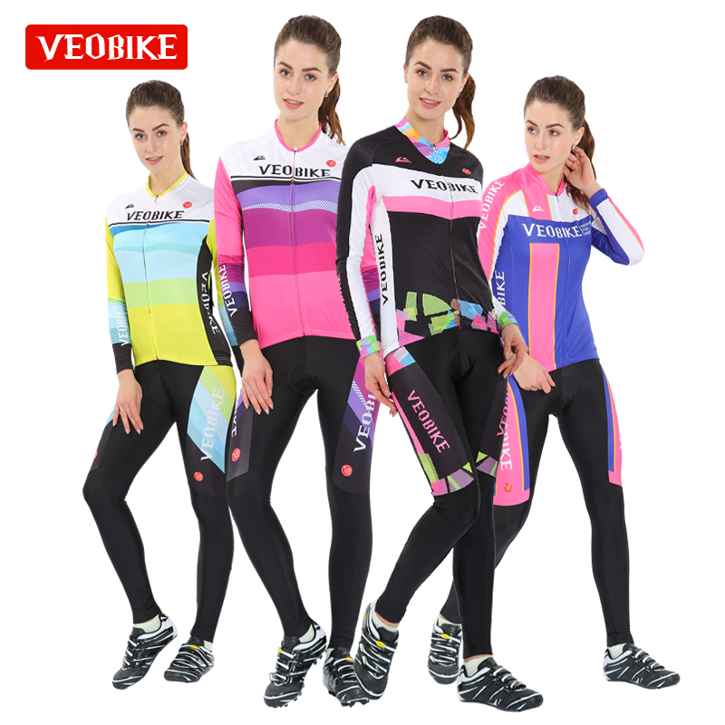 VEOBIKE 2017 Charming Slim Long Sleeve Cycling Wear Women's Suit Sweating Bicycle Wear Bicycle Wear
