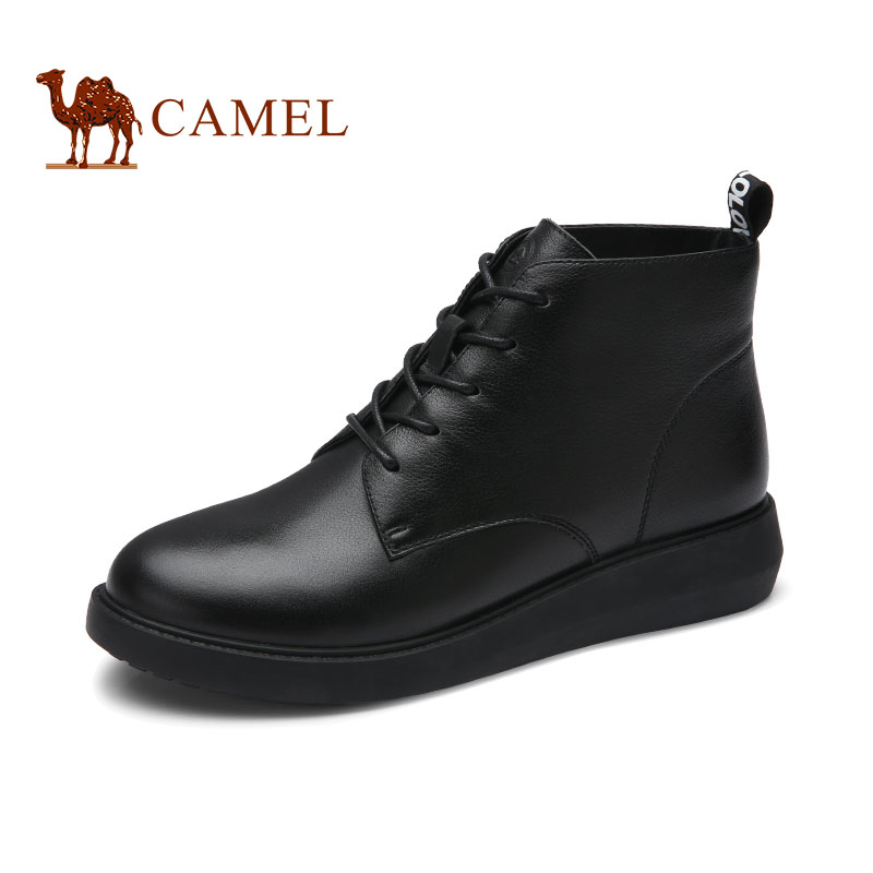 CAMEL Camel Shoes Winter New Martin Boots Leisure Fashion British Leather Boots Flat-heeled Lace Shoes
