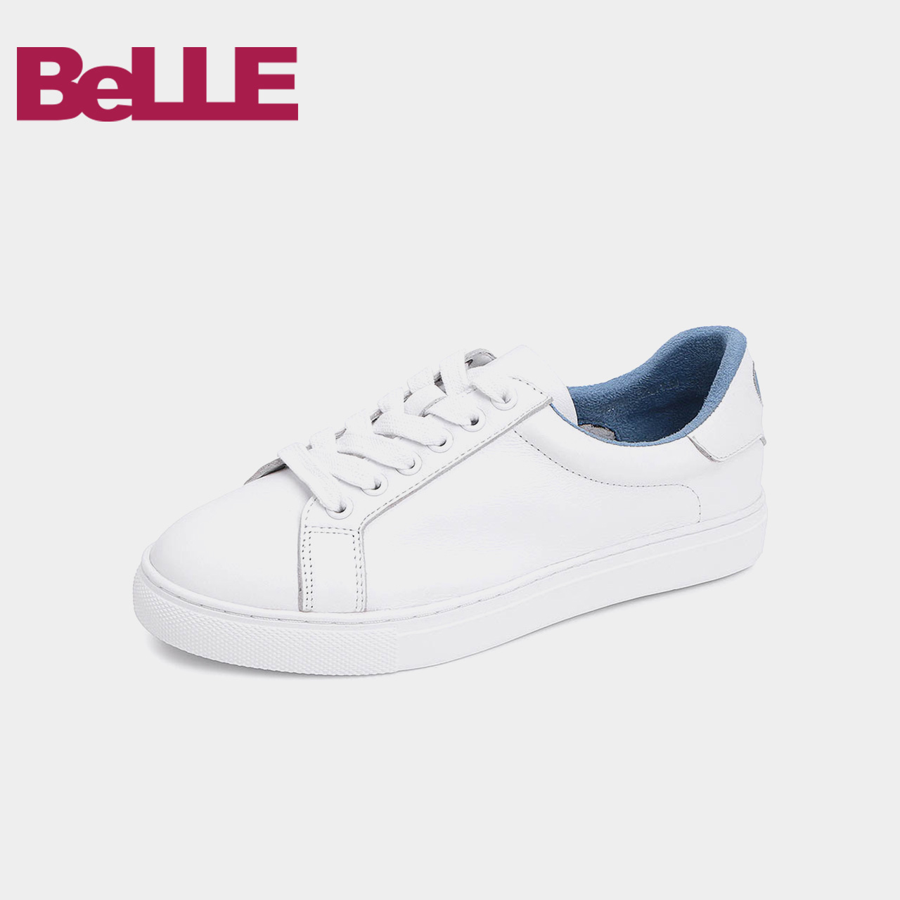 S9M1DCM8 Cowhide Flat Bottom Fashion Coloured Casual Single Shoes in Baili Small White Women's Board Shoes Shopping Mall