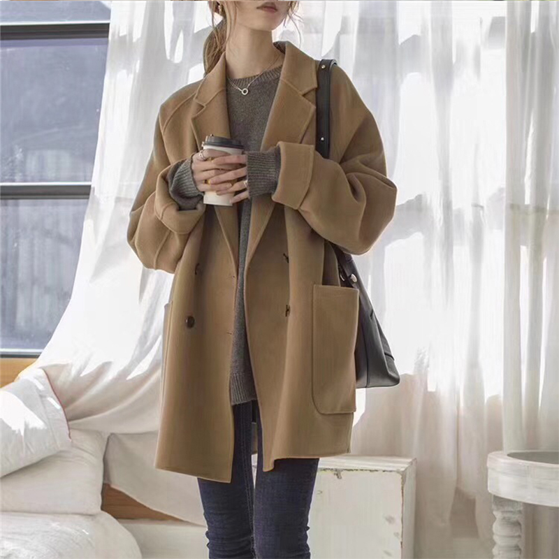 Double-sided cashmere coat female medium-length version 2020 winter new small small classic loose wool coat girl