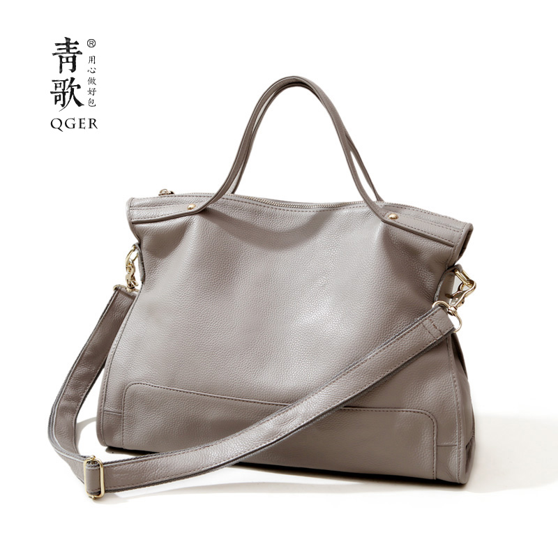 Green Song New European and American Fashion First Layer Cowhide True Leather Handbag with Single Shoulder Slanting Leisure Soft Leather Bag