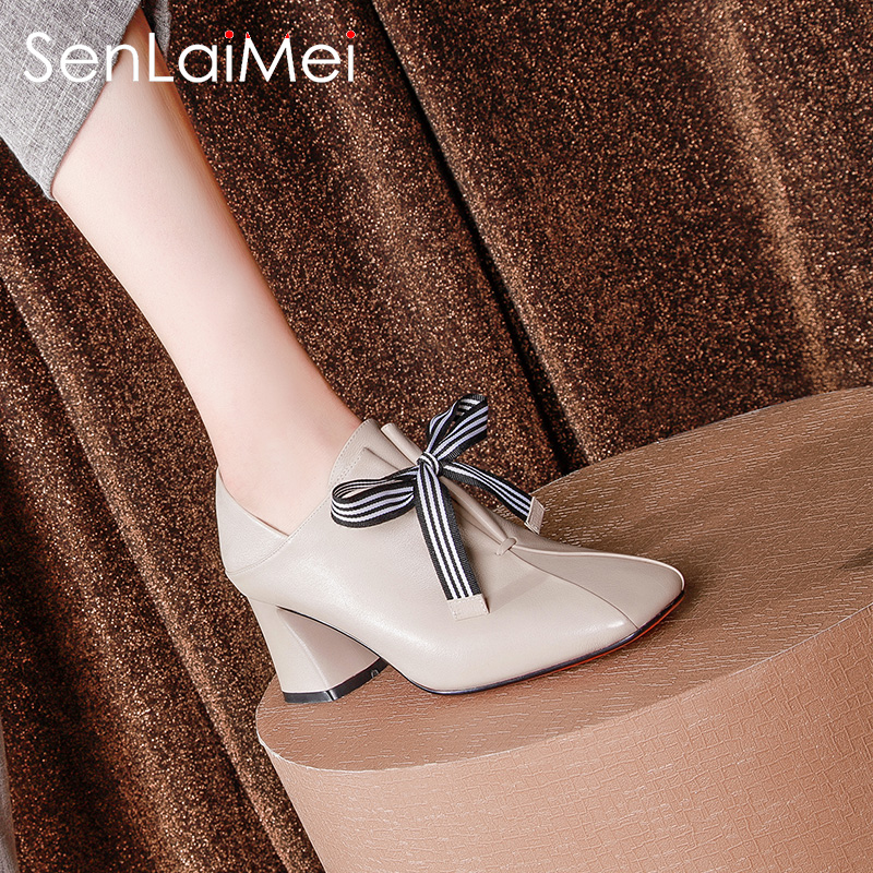 2018 new spring and autumn deep mouth single shoes female thick with high heels square scalp shoes leather autumn shoes fashion women's shoes