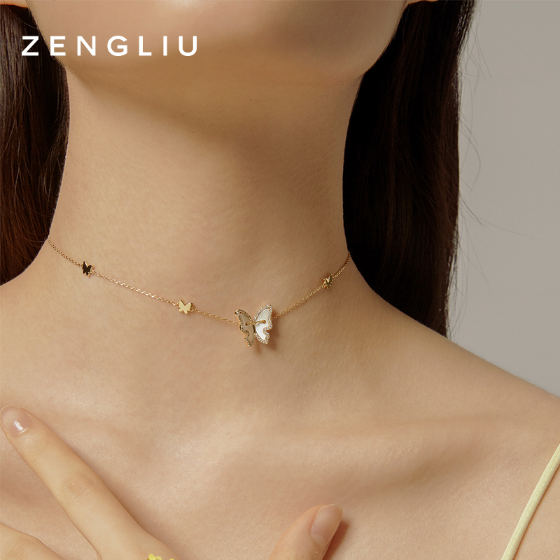 Zengliu designer 925 Sterling Silver Butterfly Necklace female ins simple cool wind little girl's best friend collarbone neck chain