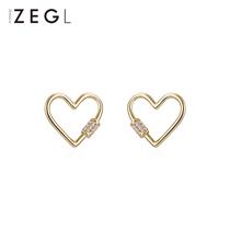 Zengliu simple heart shaped earrings feminine spirit hollow love earrings 2021 new fashion web celebrity silver needle earrings