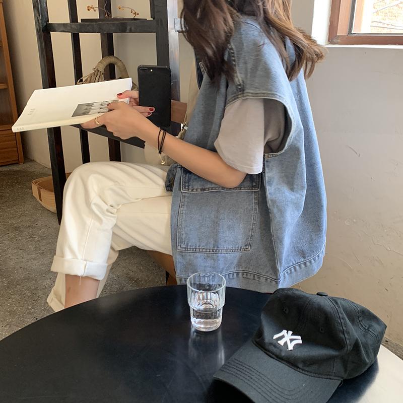 Denim vest women spring and autumn 2021 new item net infrared take loose summer thin waistband horse clip vest coat
