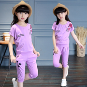 Children 2017 Girls Summer new Korean fashion big big girl leisure seven children short sleeved pants suit tide